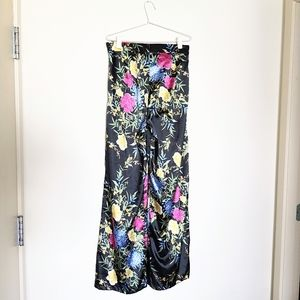 Silky Floral High Waisted Palazzo Pants, M